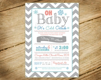 Oh Baby Its Cold Outside Baby Shower Invitation - Chevron, Pink, Blue, Winter Snowflakes