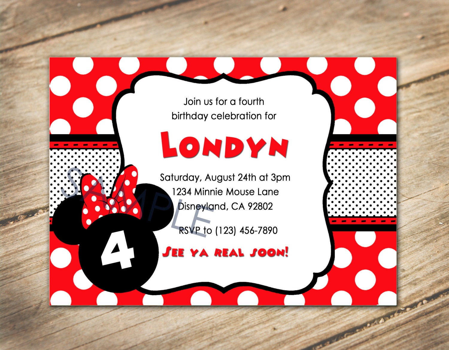 Minnie Mouse / Disney Theme Birthday Invitation Red and | Etsy