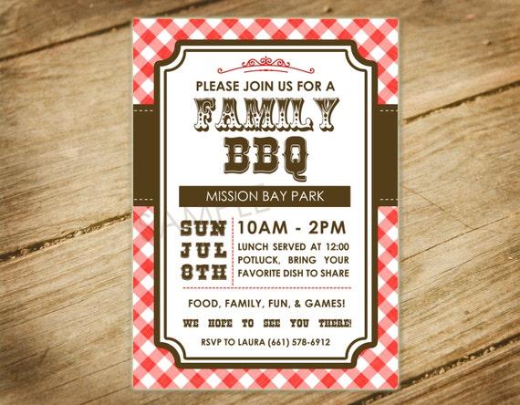 family bbq picnic family reunion western themed invitation etsy