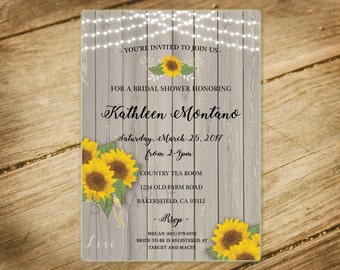 Sunflowers / Mason Jar / Twinkle Lights / Country Lace / Rustic Wooden / Bridal Shower Invitation