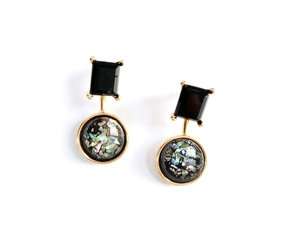 Onyx Stud Post Dangles Black Opal Earrings/ Titanium Posts  / Nickel Free Earrings / Front back earring