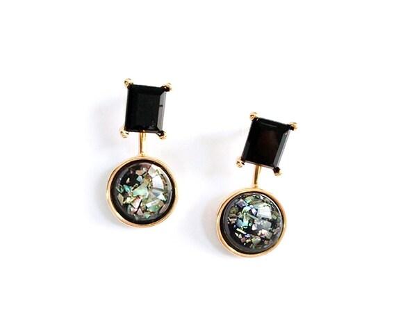 Onyx Stud Post Dangles Black Opal Earrings/ Titanium Posts  / Nickel Free Earrings / Front back earring