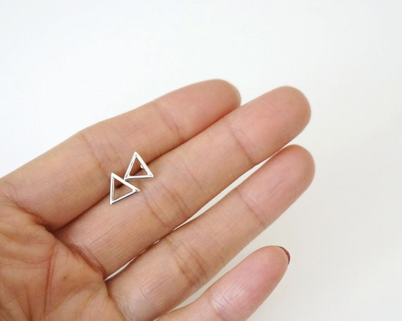 Triangle Silver Tiny Earrings