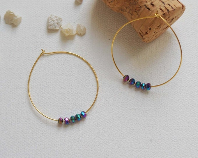 Gold Hoops with Aurora Glass Beads