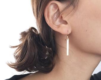 Long Bar Gold Earrings