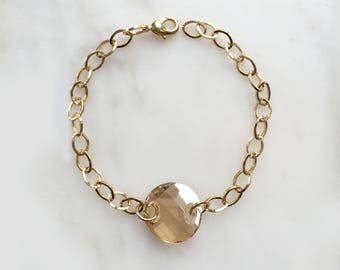 Simple Gold  Swarovski Crystal Bracelet