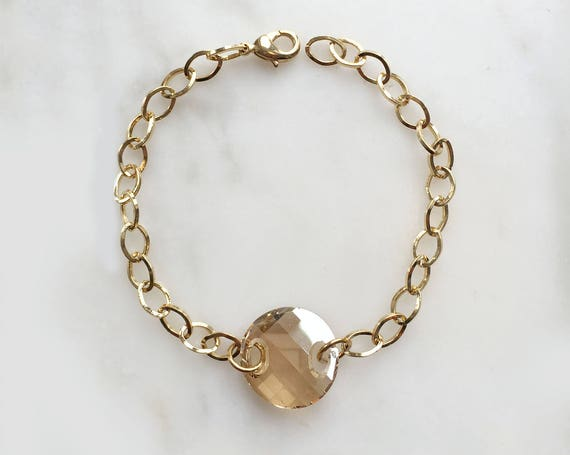 Simple Gold  Swarovski Crystal Bracelet