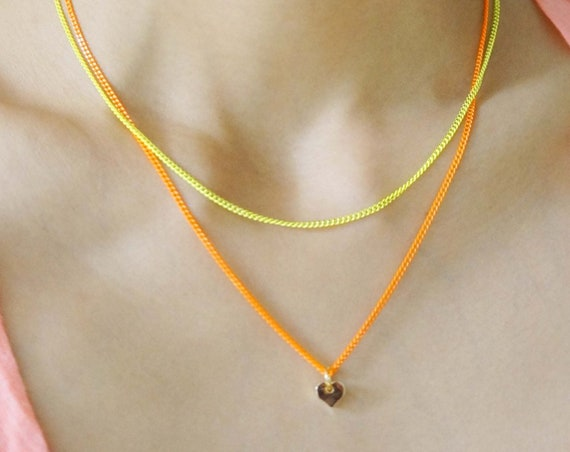 Orange and Yellow Neon Double Layered Necklace with Tiny Gold Heart Pendant