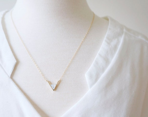 Gold Marble Triangle Necklace