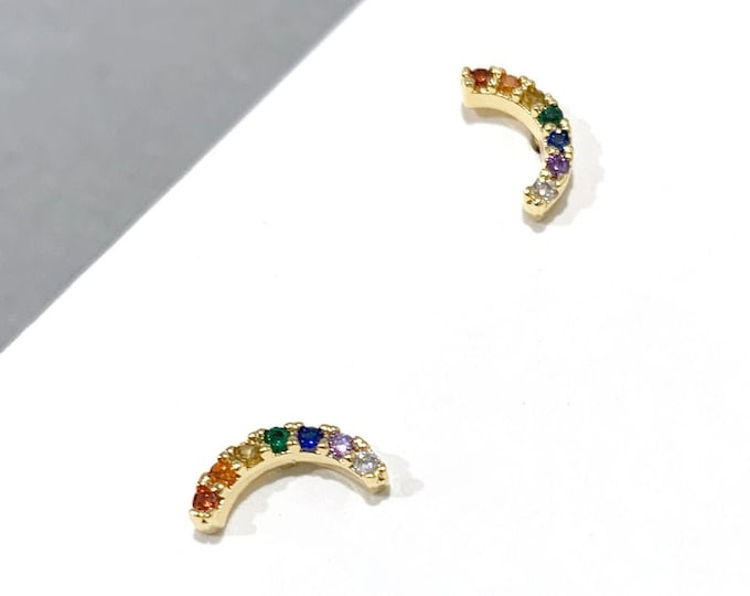 Rainbow Gold & Silver Earrings / Multicolor Rainbow Earrings / Minimal earrings