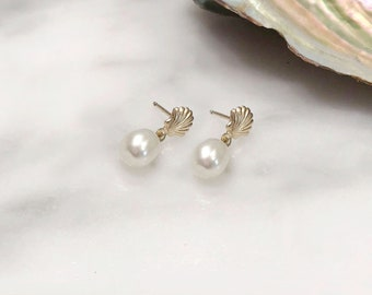 Gold and Silver Pearl Shell Earrings