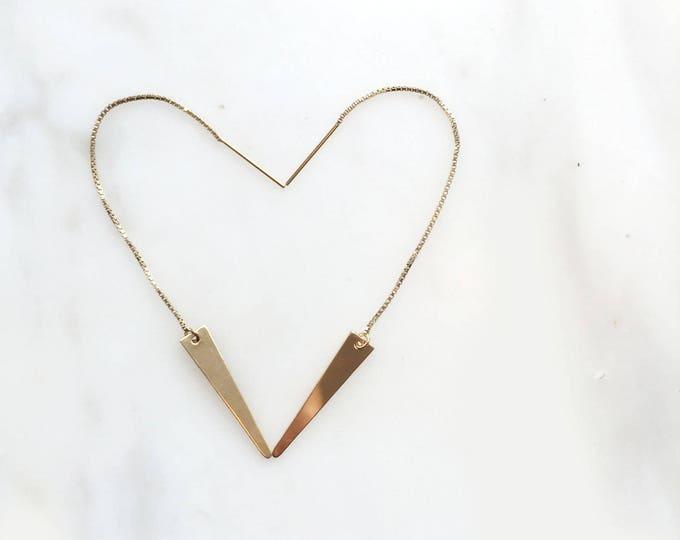 Line Threader Spike Earrings