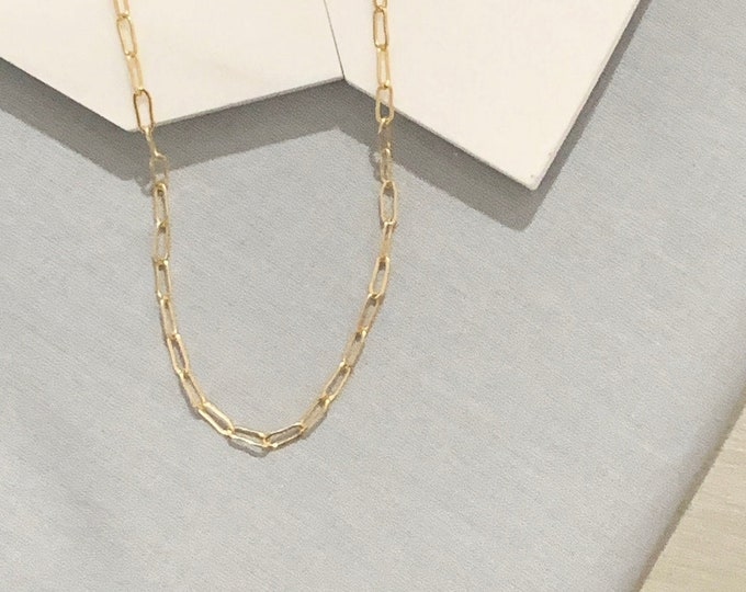 Gold Plated Rectangle Chain Necklace / Oval Elongated Link Chain / Drawn Flat Cable Chain