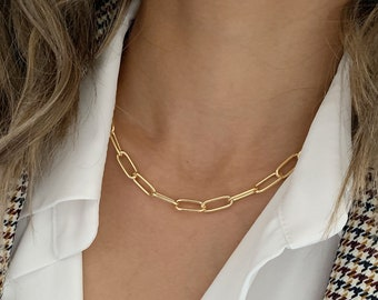 Gold Rectangle Chain Necklace