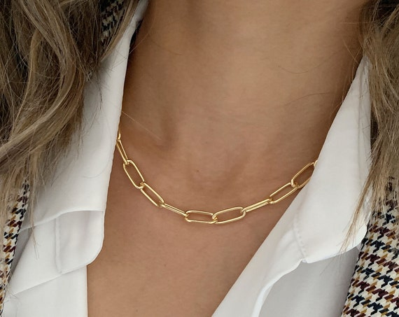 Gold Rectangle Chain Necklace / Bracelet