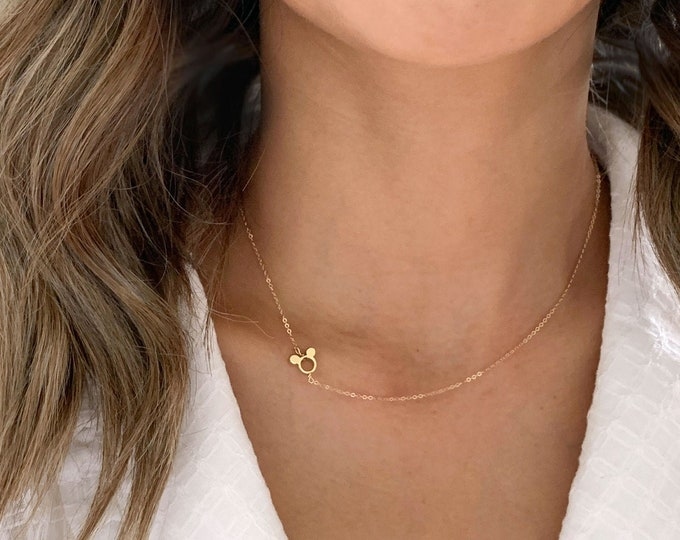 Sideways Mickey Mouse Necklace