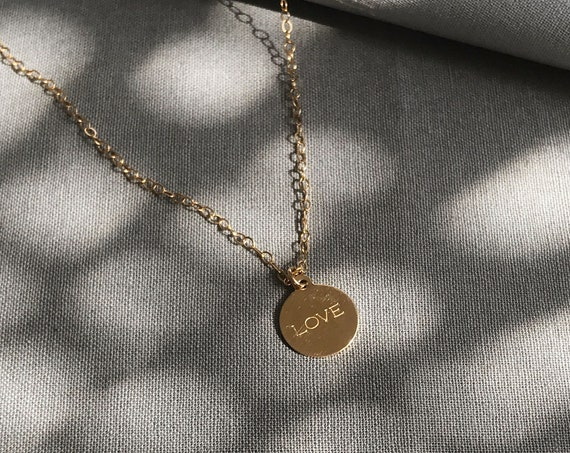 Gold Silver LOVE Word Charm necklace