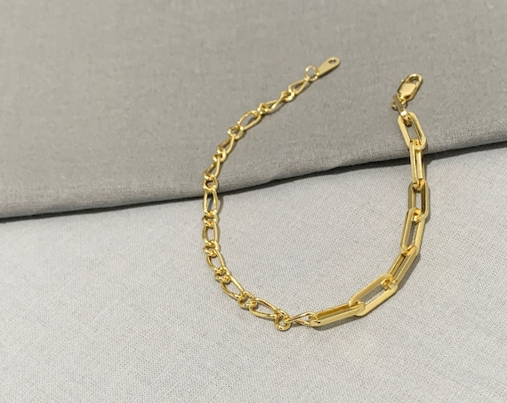 Mixed Chain Bracelet / 14k Gold Filled Chain
