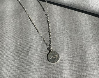 Silver LOVE Word Charm Necklace