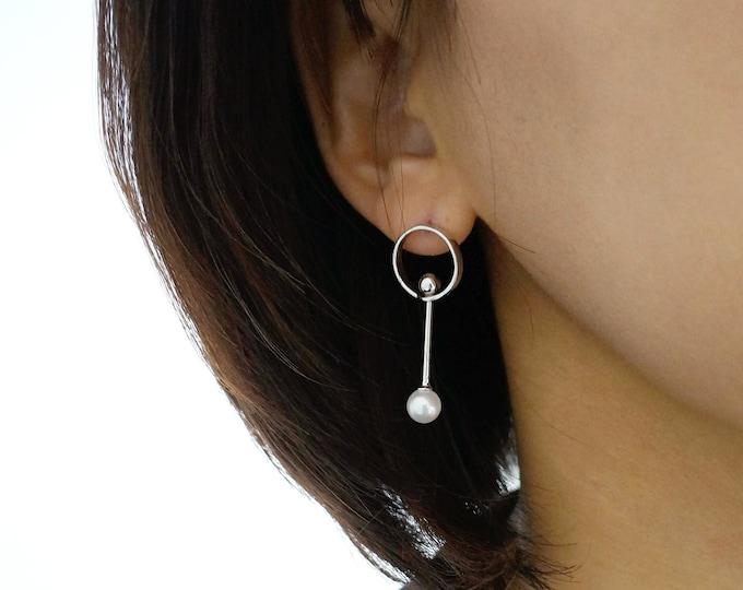Circle Pearl Hoop Earrings