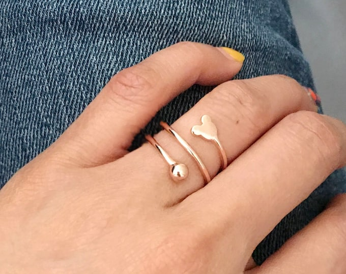 Mickey Mouse Rose Gold Ring /Open Band, Wide Band /gift idea for Valentine's day / vacation ring