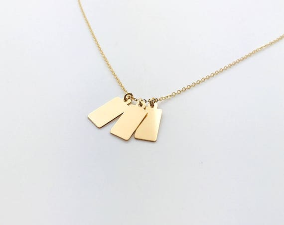 14k Gold Filled Hand Stamped Necklace /Minimal Initial Tags / gift for mom