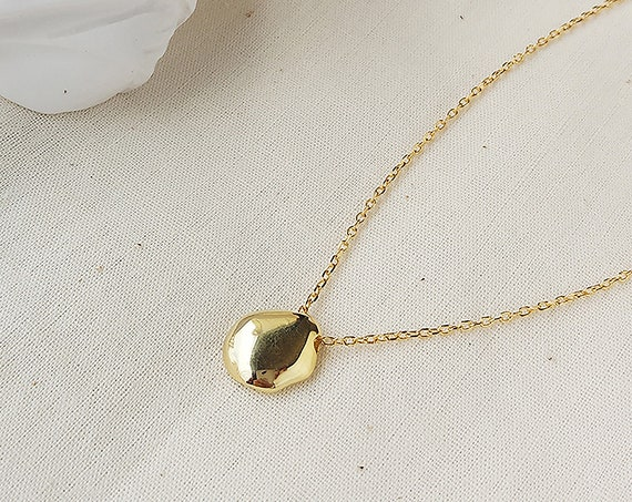 Gold Nugget Necklace/ 14k Gold Filled with Silver Necklace/ gift for new mom, valentine