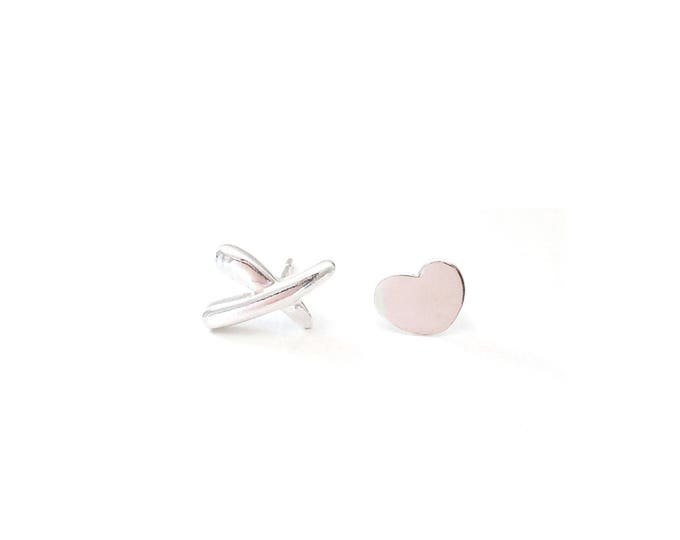 XO Sterling Silver Stud Earrings / XX Earrings /Heart Earrings
