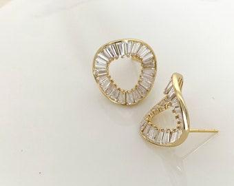 14K Gold Filled Open wave circle CZ stud earrings in Sterling Silver  / Bridal Earrings / Wedding Earrings / Karma stud