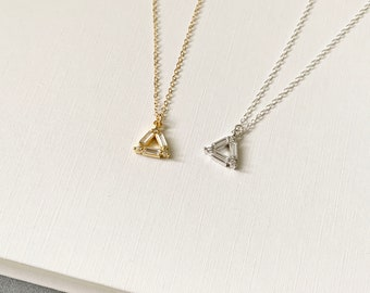 Triangle necklace, 14k Gold Filled, Silver Jewellery, Layered Necklace, Dainty Necklace, Birthday Gift, Sister Gift, Casual Jewelry
