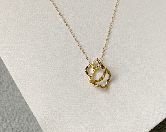 Gold Rings Necklace / 14k Gold Filled 2 Rings Necklace/Hammered circle /gold Hammered circle oval geometric