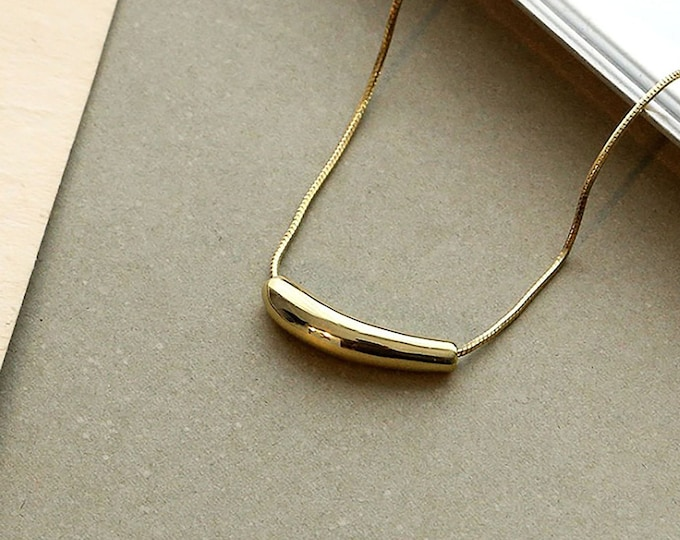 14k Gold Filled Moon Necklace / Gold Snake Necklace /Gold Crescent Dome / Birthday Gift, Bridesmaid Gift