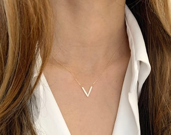 V necklace / Chevron Necklace /  Dainty Gold Necklace, Bridesmaid Jewelry