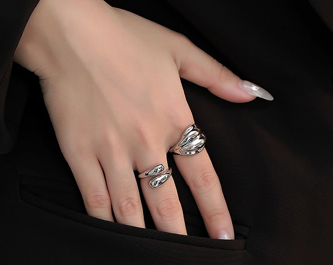 14K Gold Filled Croissant Stackable / Twisted Vintage Style Ring /Stackable Rings /Twisted Rope Ring / Silver Chunky Ring