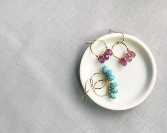 Turquoise, Red Agate Gemstone Gold Earrings