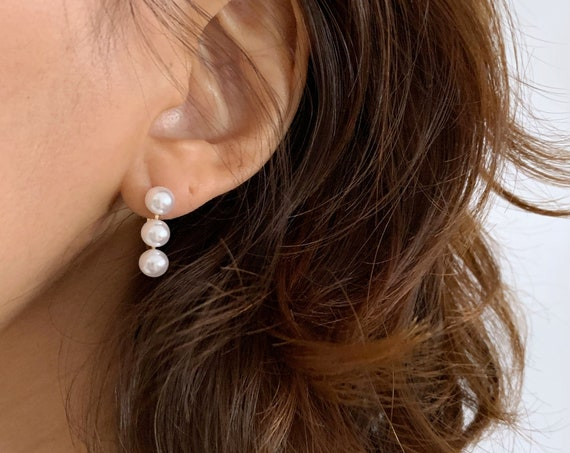 Three Pearl Gold Lever Back Earring  / Gold Pearl Earring