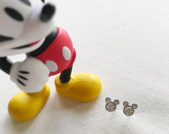 Tiny Silver Mickey Mouse Earring