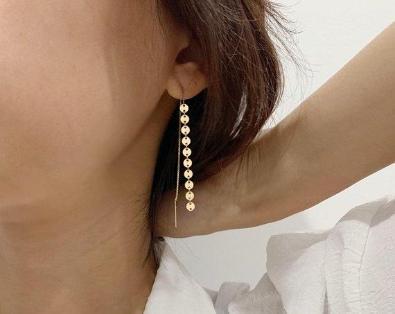Gold Filled Coin Threader Earrings /Long Dangle Earrings/ Threader Earrings / Gift for Her