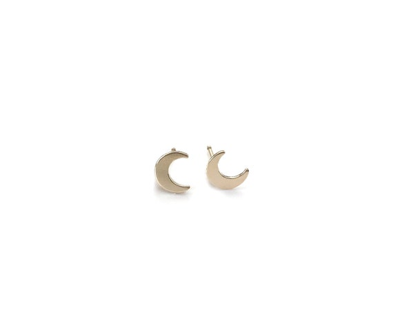 Gold Tiny Moon Earrings / 14k gold filled Climber Post Earrings
