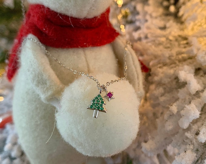 925 Silver Tiny Christmas Tree Necklace / Christmas gift necklace / Holiday gift idea