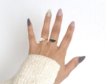 Gold Silver Plated Semicircle White / Jet (Black) Marble Ring / Adjustable Rings