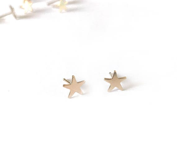 Gold Tiny Star Earrings / 14k gold filled Climber Post Earrings