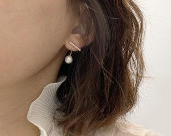 Ear Jacket/ Front-back earrings / Cubic Zirconia bar with Pearl Earrings.