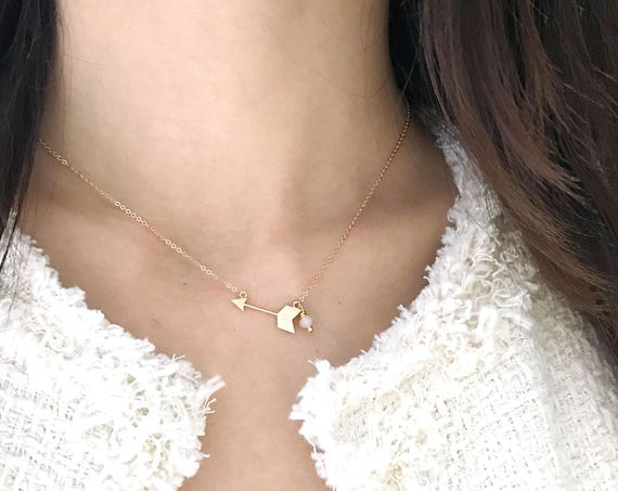 Delicate Gold Arrow with Tiny Bead Necklace