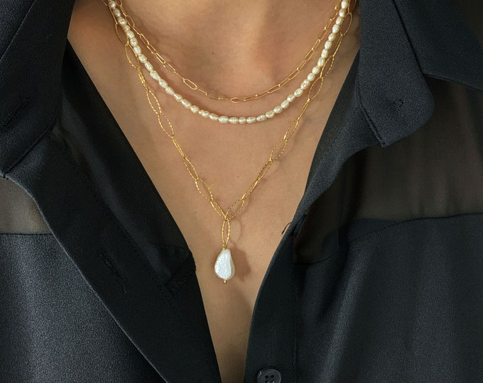 Link Chain with Fresh Pearl Pendant / Layering Necklace Set / Layered Set of 3 Necklaces