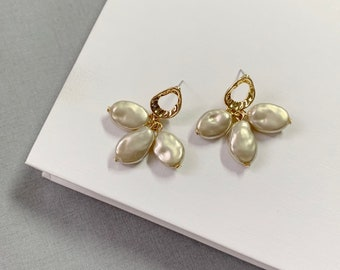 Gold with Pearl Earrings /Titanium earring post / Unique gold dangle Earrings /Minimalist, Gift for her