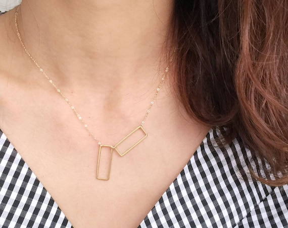 Two Open Rectangles Necklace