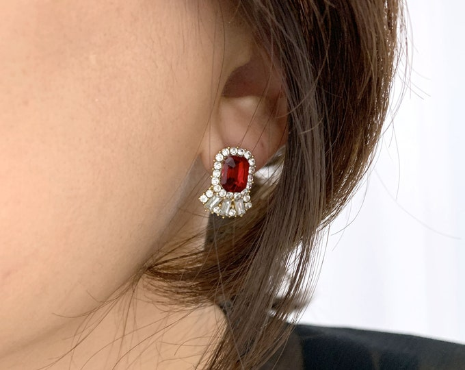 Red,Blue,Clear Post Earring/ Earrings for Holiday / Ruby, Cubic, Sapphire Earrings / Earring for Party