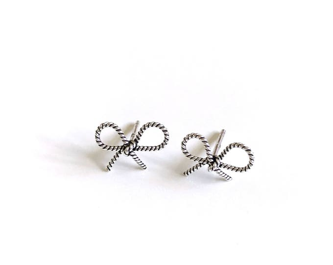 Silver Twisted Rope Bow Tie Ribbon Earrings
