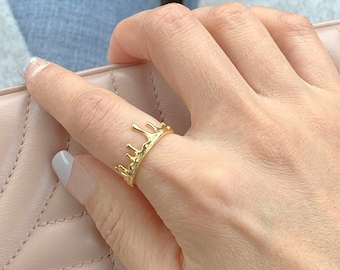 Gold Filled Open  Ring / Crown Wide Band /gift idea for best friends / vacation ring